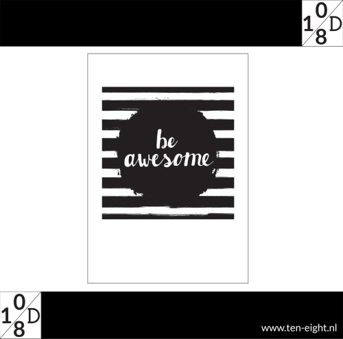 be awesome, plakposter, teksten, illustraties, custom, fun, wall, stickers, muur, plaktextiel