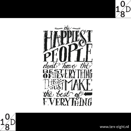happiest people, plakposter, teksten, illustraties, custom, fun, wall, stickers, muur, plaktextiel
