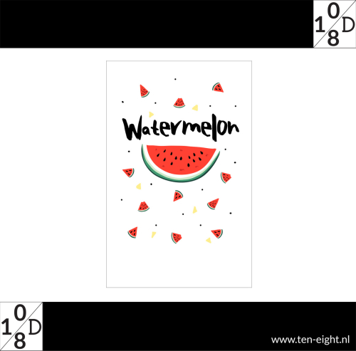 Watermelon, plakposter, teksten, illustraties, custom, fun, wall, stickers, muur, plaktextiel