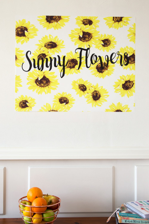 sunny flowers, plakposter, teksten, illustraties, custom, fun, wall, stickers, muur
