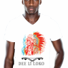 mannen t-shirt, wit, opdruk, native, rood, geel, blauw, veren, v-hals, print, Dee li loko, ten-eight design,korte mouwen, colour white, v-neck, short sleeves, red, blue, yellow, mens shirt, arowaks